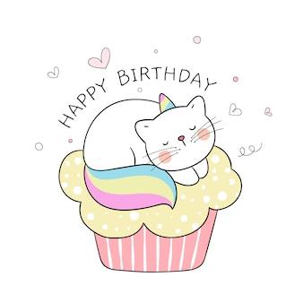 Teken schattige caticorn die op cupcake slaapt voor verjaardag.