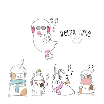 Teken schattige dieren cartoon, muziek luisteren