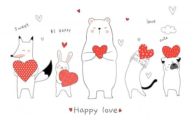 Teken schattige dieren met rood hart voor valentijnsdag