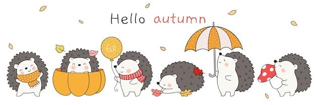 Teken schattige egels in de herfst wodland animal