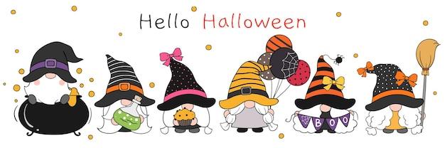 Teken schattige kabouter in halloween-dag doodle-tekenfilmstijl