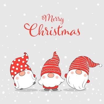 Teken schattige kabouters in de sneeuw voor kerstmis