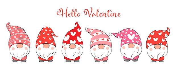 Teken schattige kabouters valentijnsdag