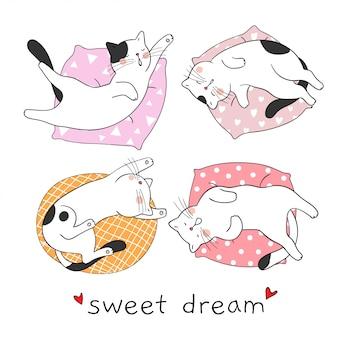 Teken schattige kat, blij om te slapen en zoete droom