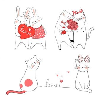 Teken schattige kat en konijn voor valentijn.
