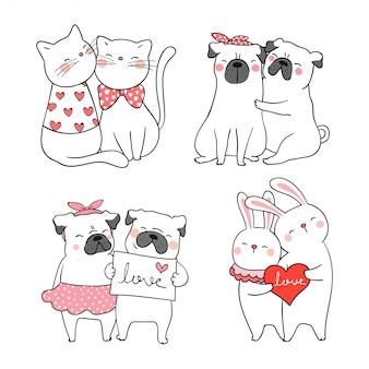 Teken schattige kat en mops hond voor valentijn.