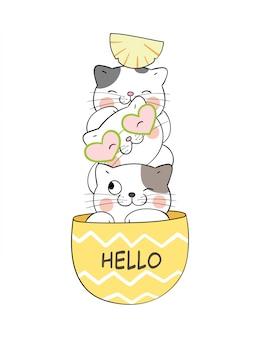 Teken schattige kat in ananas voor de zomer.