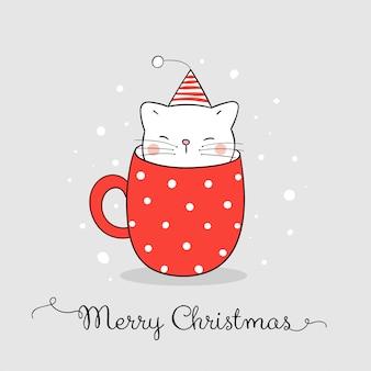 Teken schattige kat in rode kop koffie kaart