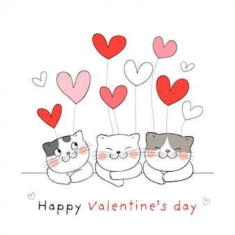 Teken schattige kat met ballon voor valentijnsdag.