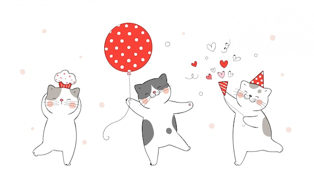 Teken schattige kat met rode ballon voor verjaardag.