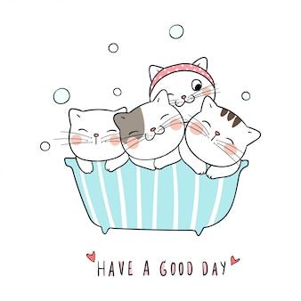 Teken schattige kat, neem een bad en het woord heeft het naar zijn zin.