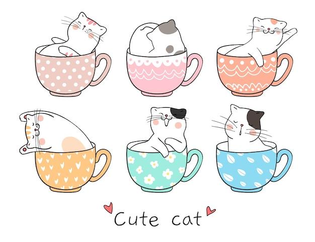 Teken schattige kat slaapt in een kopje thee