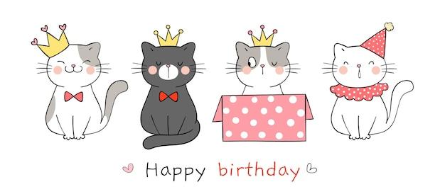 Teken schattige kat voor een gelukkige verjaardag