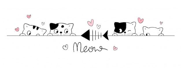 Teken schattige katten kijken naar vissen op wit.