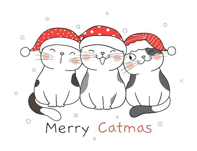 Teken schattige katten voor kerstmis en nieuwjaar