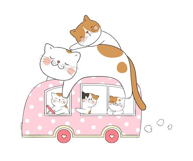 Teken schattige kattenslaap op roze busje.