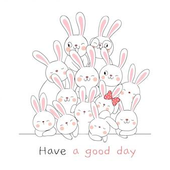 Teken schattige konijn met woord een mooie dag op wit.