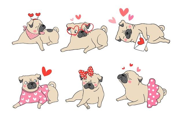 Teken schattige pug dog puppy voor valentijnsdag.