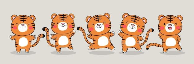 Teken schattige tijger voor gelukkig chinees nieuwjaar