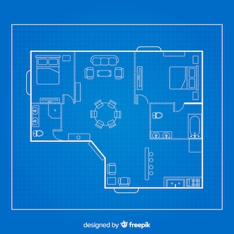 Teken schets van huis op blauwdruk