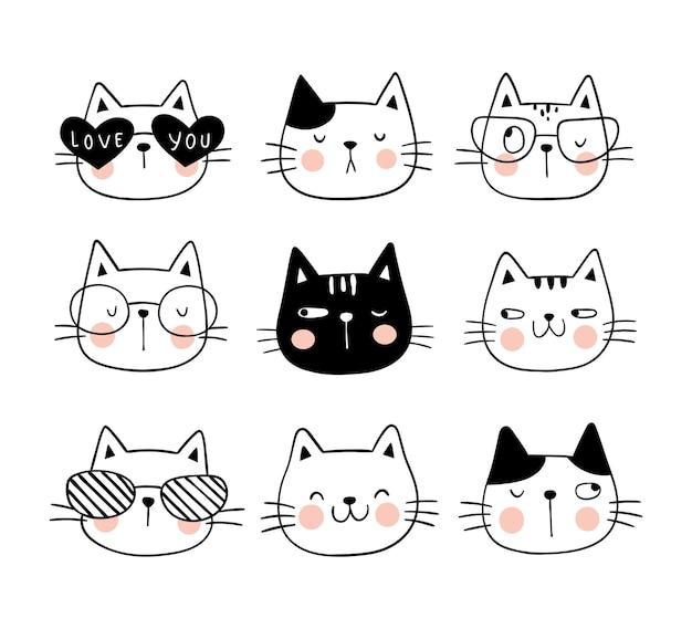Teken silhouetgezicht van kat voor gesneden bestand