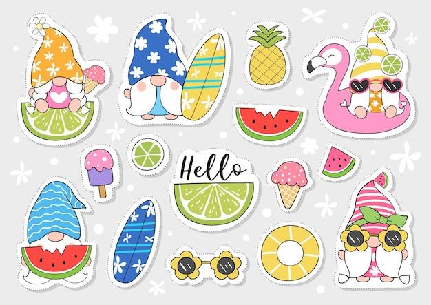 Teken tekencollectie stickers schattige kabouter voor de zomer