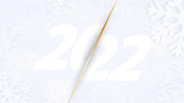 Teken van het nieuwe jaar 2022 op een achtergrond van sneeuwvlokken. banner voor happy new year groeten. vector illustratie.