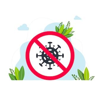 Teken, vector geen virustekenpictogram, stop virus. houd rekening met het coronavirus. blijf thuis. platte vector icon. geen virusteken. virusteken in rood doorgestreepte cirkel