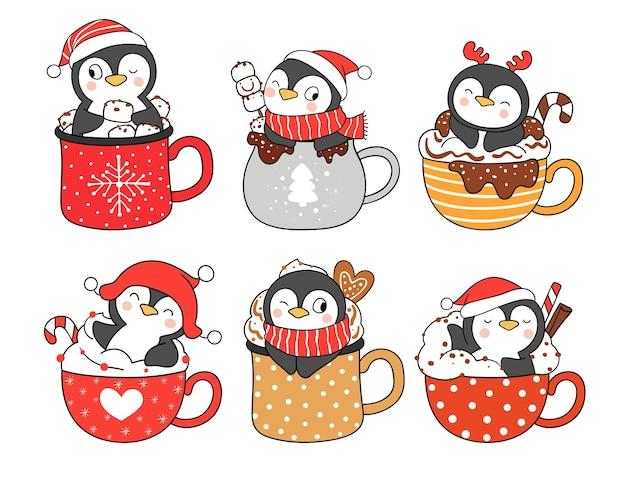 Teken verzameling pinguïn in kerstdrankje voor het nieuwe jaar