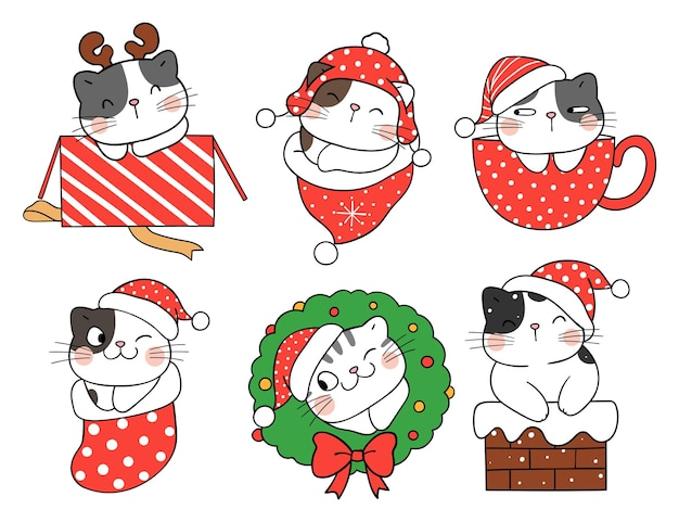 Teken verzameling schattige katten voor kerstmis en nieuwjaar