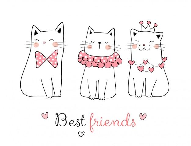 Teken verzameling van zoete kat met woord beste vriend.