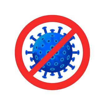 Teken voorzichtigheid coronavirus. stop het coronavirus. corona-uitbraak. coronavirusgevaar en risico voor de volksgezondheid ziekte en griepuitbraak. pandemisch medisch concept met gevaarlijke cellen. vectorillustratie.