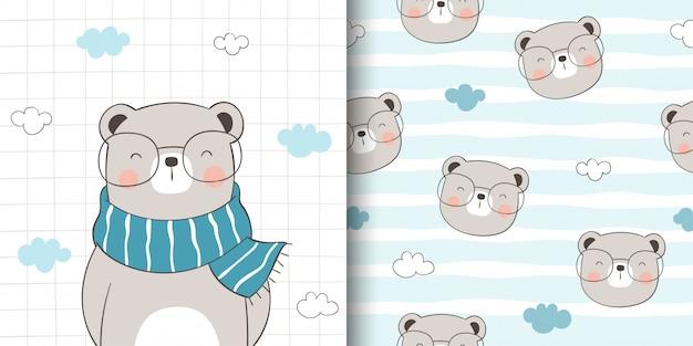 Teken wenskaart en print patroon van schattige beer voor stoffen textiel kinderen.