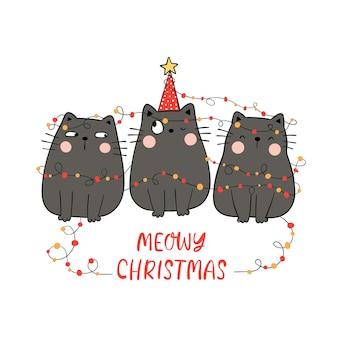 Teken zwarte kat met meowy kerstconcept