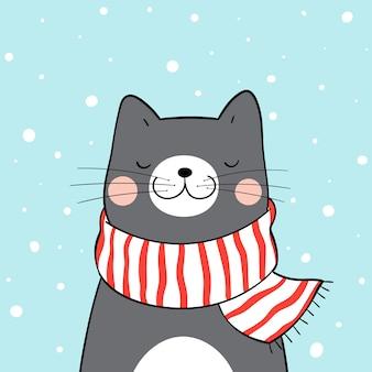 Teken zwarte kat met rode sjaal in sneeuw voor kerstmis.