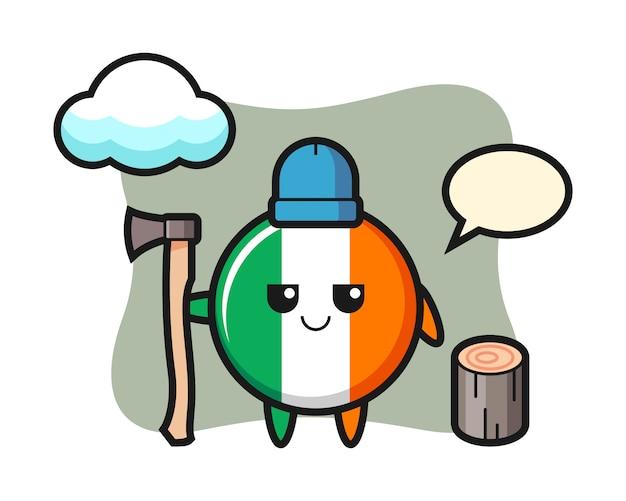 Tekenbeeldverhaal van de vlagkenteken van ierland als houthakker