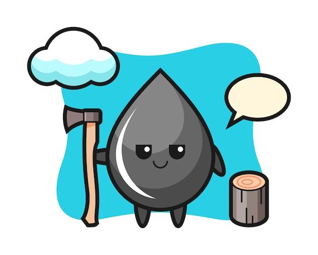 Tekenbeeldverhaal van oliedruppel als houthakker