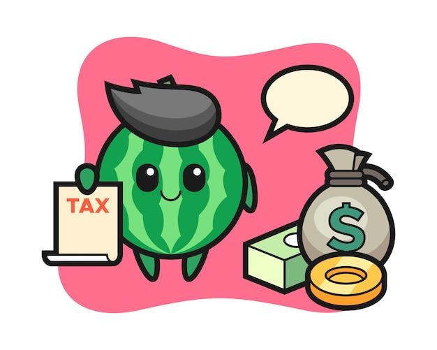 Tekenbeeldverhaal van watermeloen als accountant