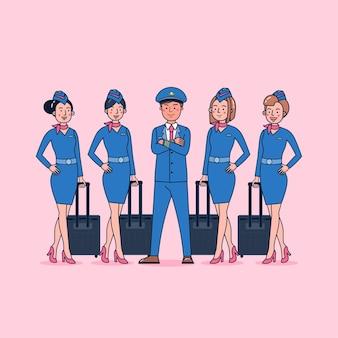 Tekencollectie van piloot en stewardess grote set geïsoleerde vlakke afbeelding dragen professionele uniform, cartoon stijl