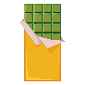Tekenen op een witte geïsoleerde achtergrond chocolade gemaakt van groen mokkapoeder