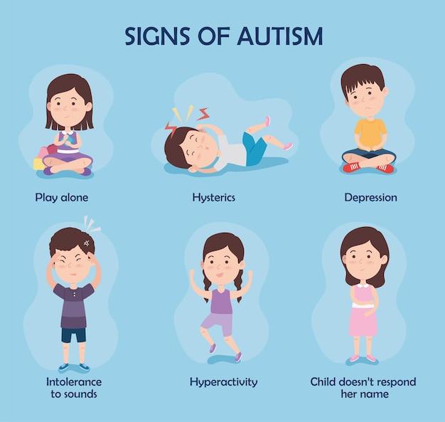 Tekenen van autisme ingesteld