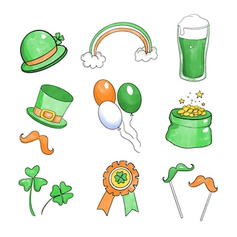 Tekenen van st. patricks dag element collectie