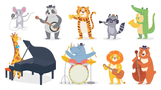 Tekenfilm dieren met muziekinstrumenten