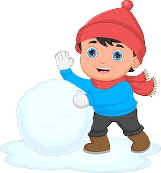 Tekenfilm jongen spelen met sneeuw