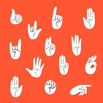 Tekenfilm reeks gebaren op een rode achtergrond