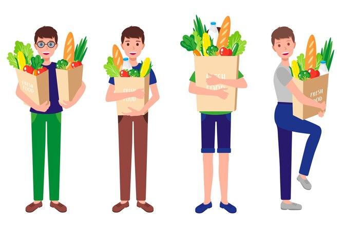 tekenfilm reeks gelukkige jongens houden eco papieren zakken met vers gezond biologisch voedsel geïsoleerd op een witte achtergrond