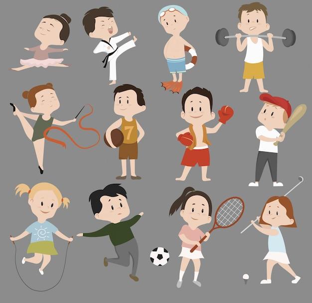 Tekenfilm reeks kinderen in sporttraining. verzameling van kinderen die betrokken zijn bij verschillende sporten.
