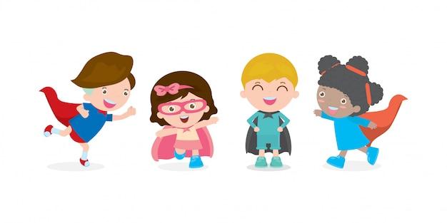 Tekenfilm reeks kinderen superheld dragen strips kostuums, schattige kleine kinderen met superhelden cosplay collectie, groep kind in superheld karakter geïsoleerde illustratie.