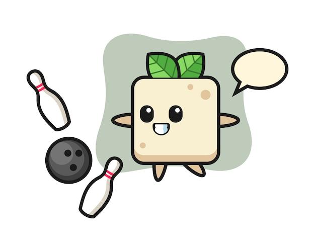 Tekenfilm van tofu speelt bowlen, schattig stijlontwerp voor t-shirt