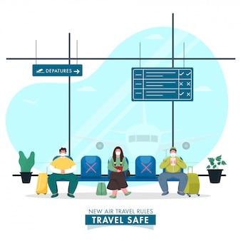Tekenfilmmensen die een beschermend masker dragen, bewaren sociale afstand op de luchthaven van vertrek om het coronavirus te voorkomen.